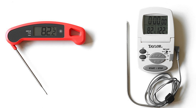An example of two different types of meat thermometer, one with a skewer and one with an extendable cord both are digital
