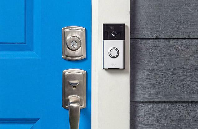 Blue smart doorbell